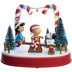 """Charlie+Brown+and+friends+engage+in+some+holiday+fun!<br><br>Musical+light-up+figure+features+Lucy+and+Snoopy+on+a+moving+see-saw,+LED+illumination,+and+plays+the+PEANUTS+theme+song.<br><br><b><font+color=#0099FF>Click+<a+href=""""/search.do?query=PEANUTS""""+data-ajax=""""false""""><font+color=#3366FF>here</font></a>+to+see+our+entire+PEANUTS+collection!</font></b>"""