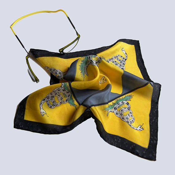 Silk pocket square yellow Gadsden flag black rattlesnake hand