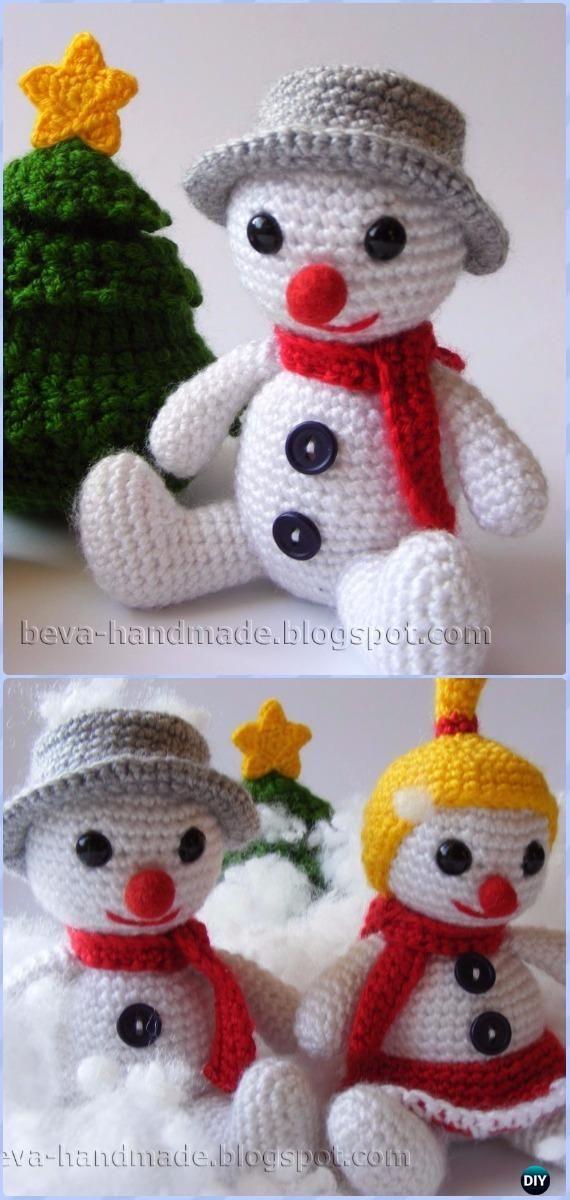Crochet Bouli the Snowman Amigurumi Free Pattern - Amigurumi Crochet Snowman Stuffies Toys Free Patterns