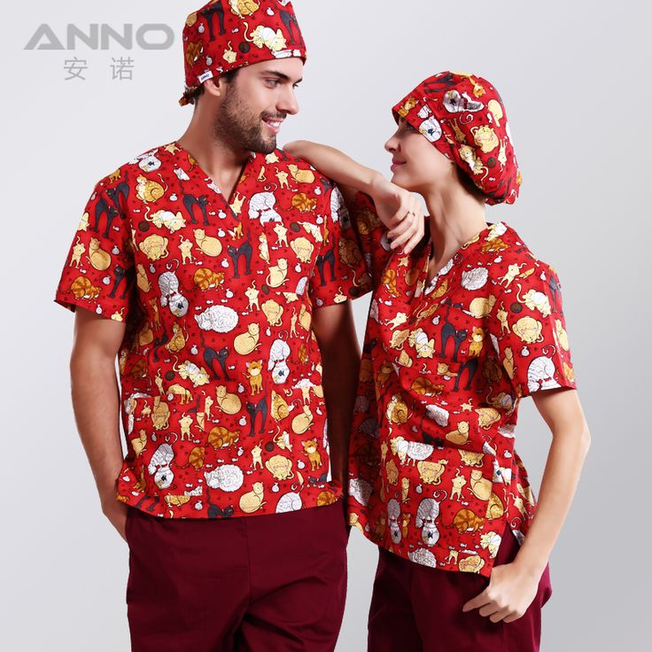 ANNO  printed medical clothings for cotton veterinary short sleeve scrubs  uniform enfermeira dental uniform medical wear
