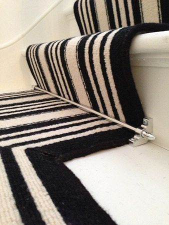 Client Private Residence In North West London Black White Stripe 100 Wool Carpets On Stairs As Runner With Stair Rods