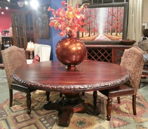 72 Round San Antonio Rose Hand Tooled Dining Table Rustic Western Mango Wood