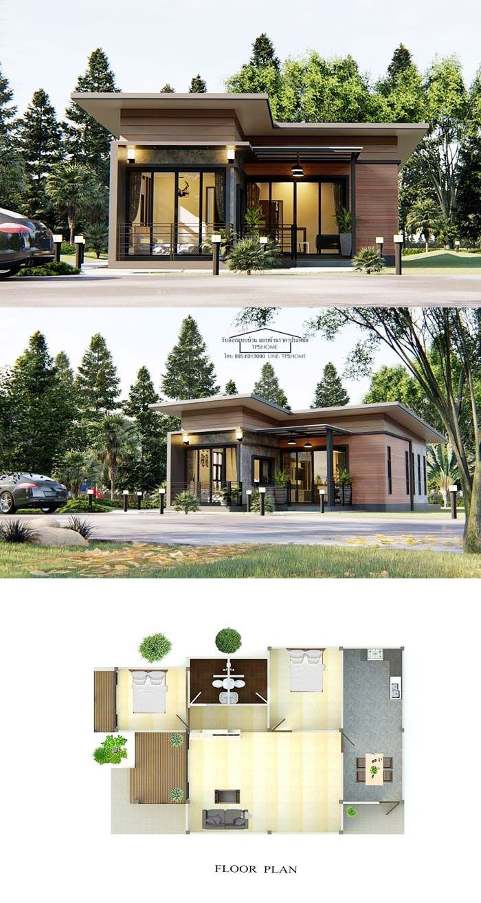Modern One Storey House Design With Two Bedrooms Modern Bungalow House Small House Exteriors One Storey House