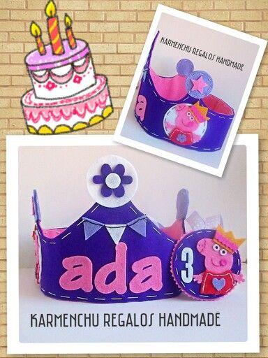 Corona de Cumpleaños  Peppa Pig  Sigueme en facebook  KARMENCHU REGALOS HANDMADE