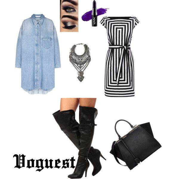 #voguest #fashion #hautecouture #mode #moda #instamoda #drama #alluring #necklace #dress #boots #bag #love #mycreation by thevoguestparis on Polyvore featuring polyvore, mode, style, Karen Millen and Fendi