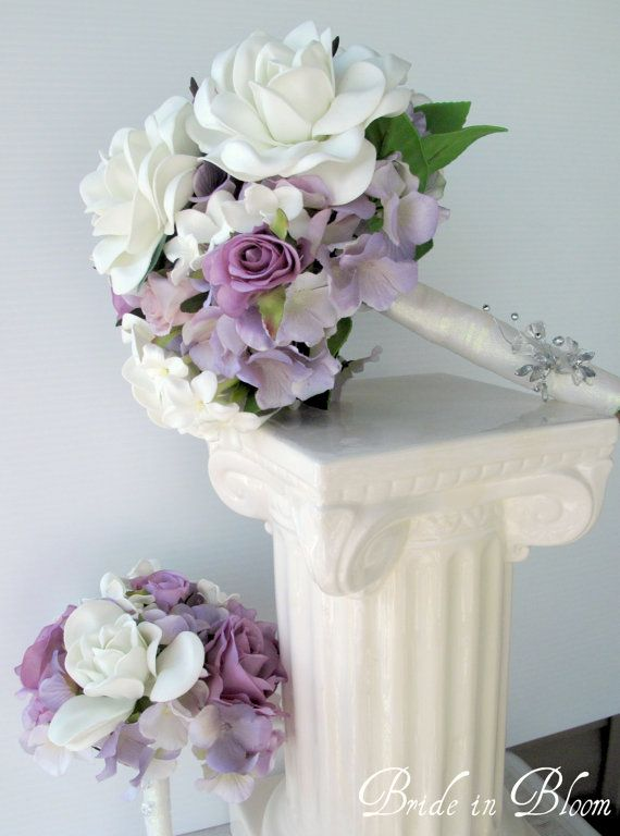 Wedding bouquet set white gardenia by BrideinBloomWeddings on Etsy, $195.00