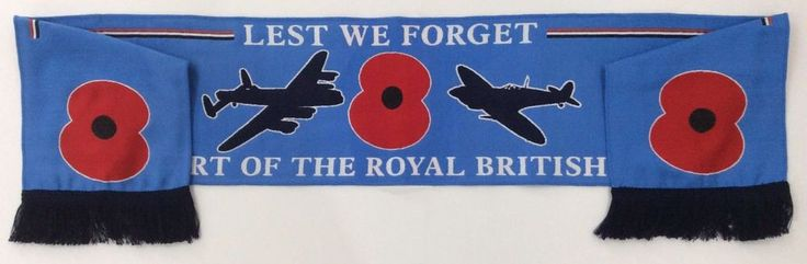 OFFICIAL POPPY APPEAL FUND SCARF. ROYAL BRITISH LEGION. AIR FORCE. RAF. (Badge)