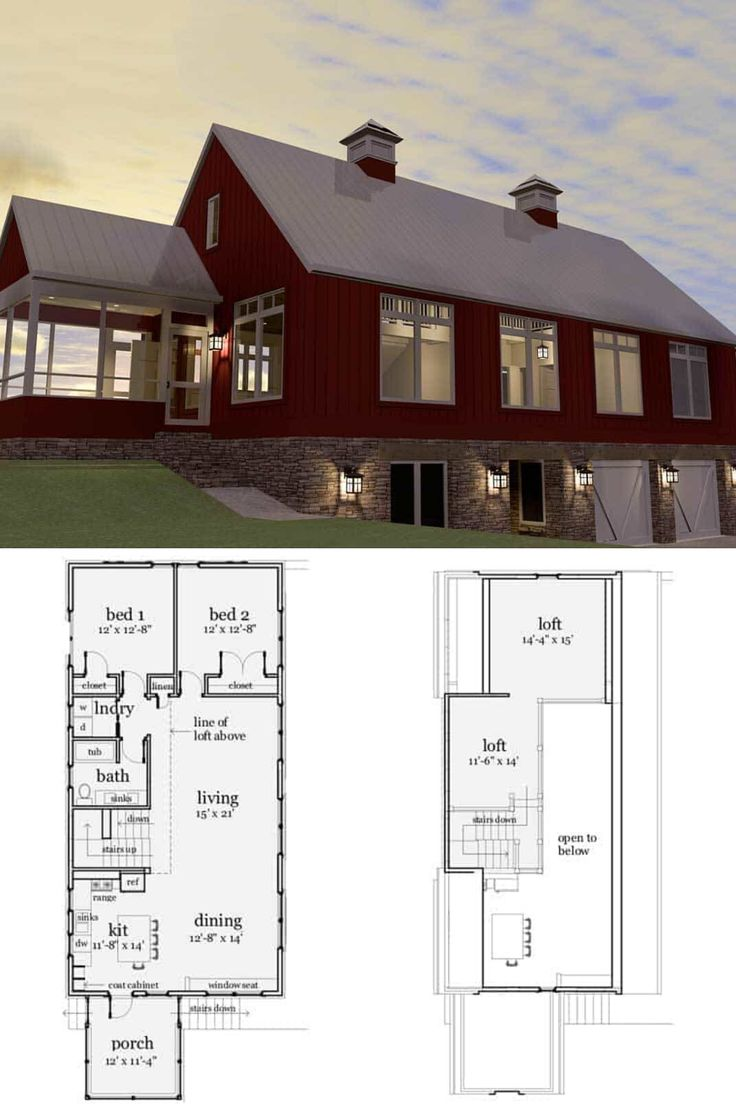 3-Bedroom Two-Story Modern Barndominium (Floor Plan ...