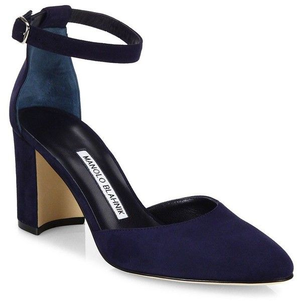 Manolo Blahnik Women's Lausam Suede Ankle-Strap Block-Heel Sandals found on Polyvore featuring shoes, sandals, heels, navy, block-heel sandals, navy blue sandals, ankle strap heel sandals, color block sandals and navy sandals