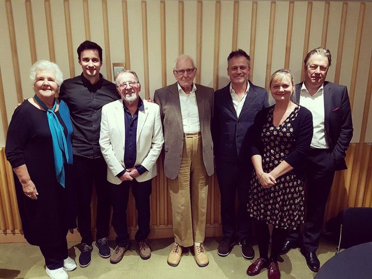 Roger and friends spending Friday 9/22/17 at The British Library celebrating the 90th birthday of writer Peter Nichols. Stephanie Cole is on the left!