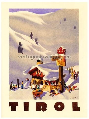 Tirol Austria vintage Ski Poster