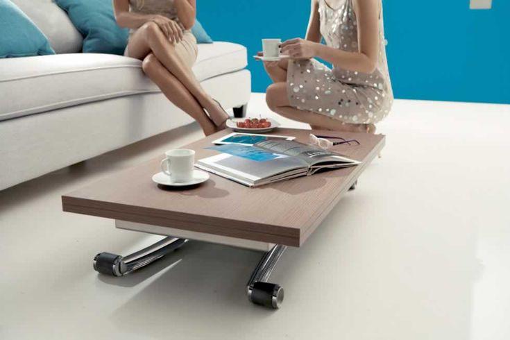 MINI, design: Studio Ozeta - Metal frame transformable table, gas adjustable height from cm 23 to cm 76, melamine doubling top. www.ozzio.com