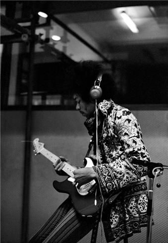 Jimi Hendrix at Olympic Studios, London, 1967 during the recording of Are You Experienced his first album