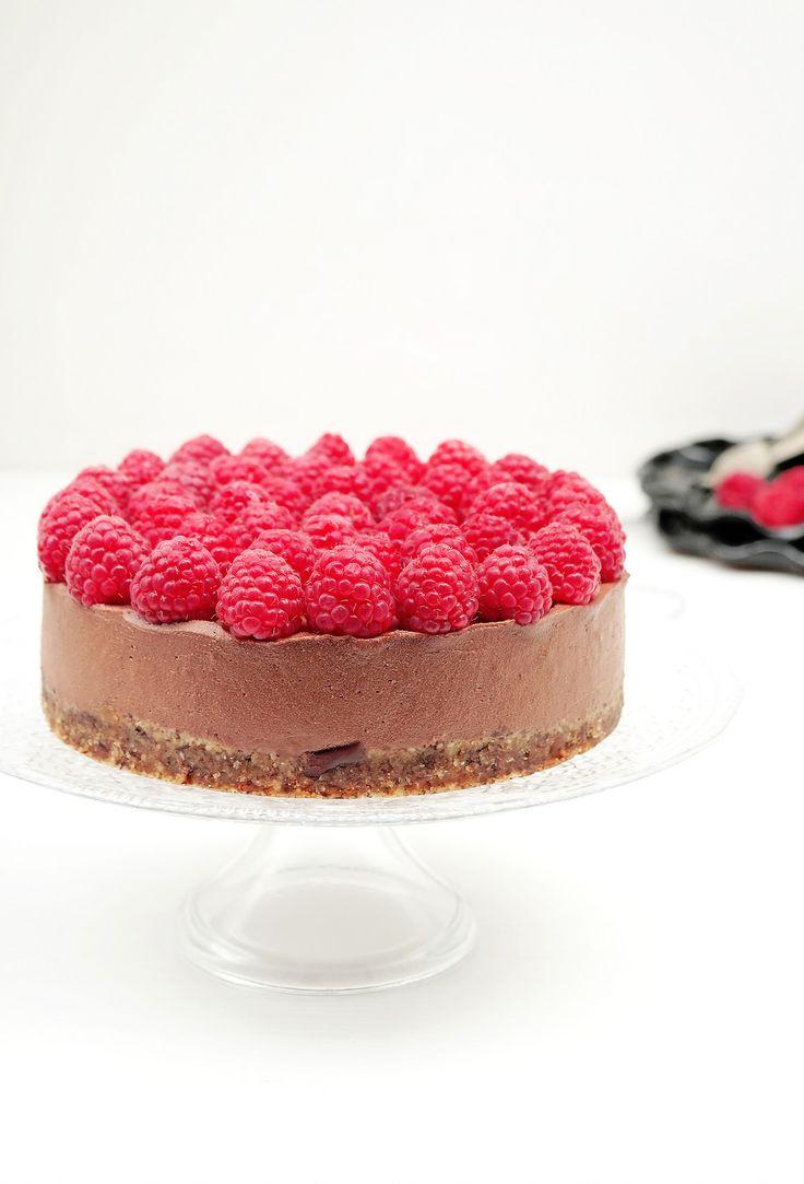 Vegan GF Raw Raspberry & Chocolate Cheesecake