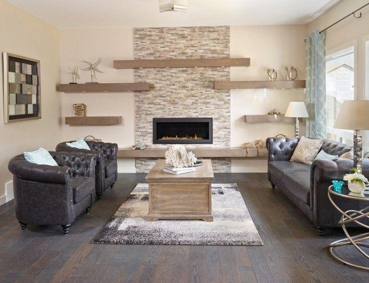 fauteuils et canapé Chesterfield et cheminée bio-éthanol murale