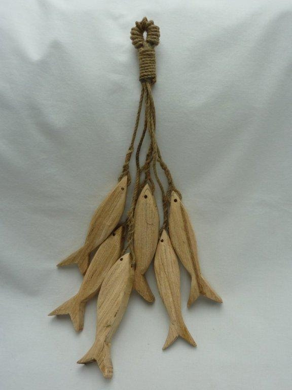 Hand carved wooden hanging fish by downthecove on Etsy