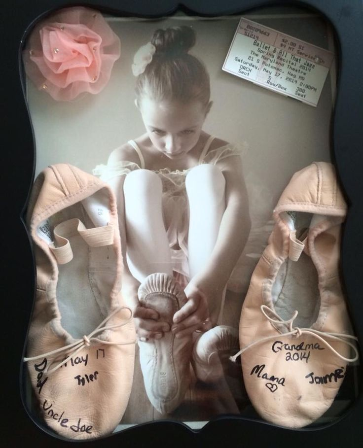 Dance Recital Shadow Box I made for my daughters first recital :) Have everyone that came sign the ballet shoes :)