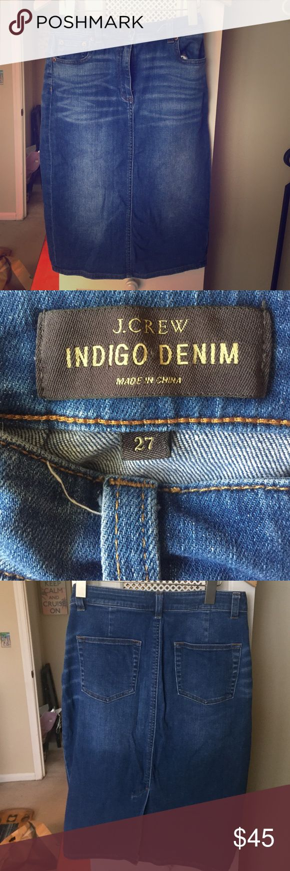 J Crew indigo denim knee length jean skirt J Crew jean skirt that fits comfortably and in great condition. J. Crew Skirts Pencil