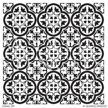 Bohemian Tile Stencil Art for Decorative Painting Projects - Modello Custom Stencils