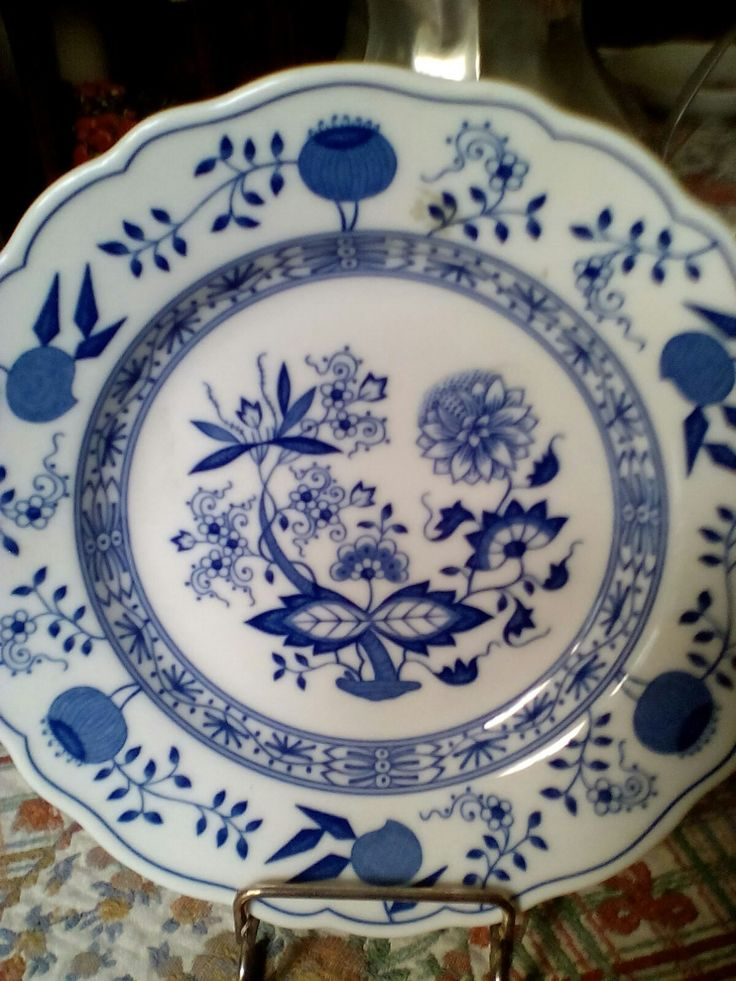 Hutschenteuter Germany Piatto in porcellana bianca e blu