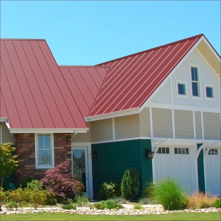 Exterior Red Metal Roof Installed In Modest Home Designs That Have Pretty Gardens With Various