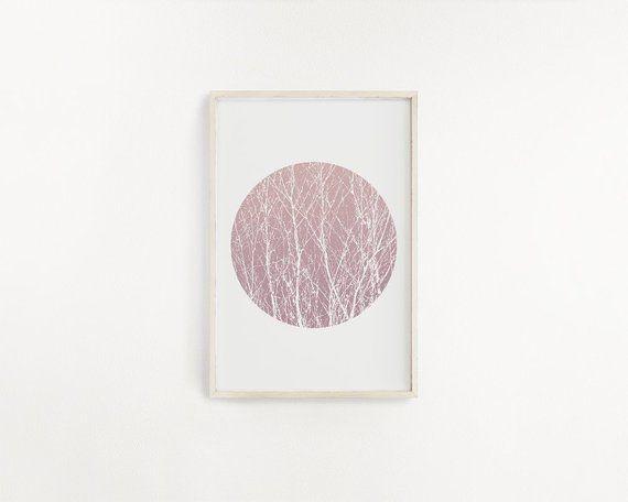 Pink Minimal Print 123 – Art téléchargeable, impressions d'art minimalistes, décor à la maison mignon, Art mural de chambre à coucher imprimable, oeuvre géométrique cercle   – Linlera Prints