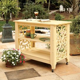 Great piece to use as a bar cart or even a potting bench.  Veranda Serving Island