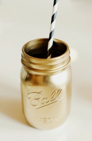 Spray paint mason jars for centerpieces (or for signature drink?)