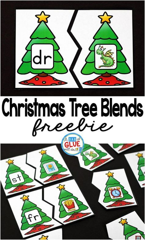 Christmas Printable | Christmas Tree Blend Printable Puzzles is the perfect addition to your literacy centers this holiday season. This free printable is great for kindergarten, first grade, and second grade students. #Christmas #freeprintable
