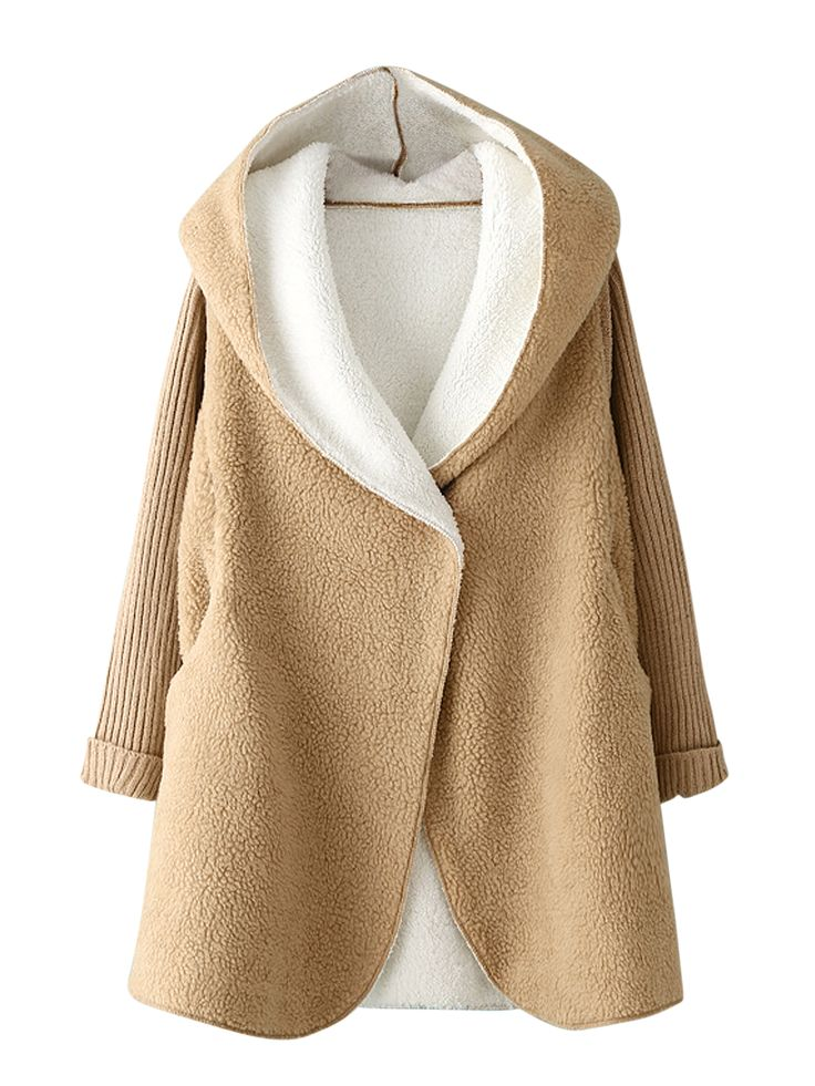 Buy Khaki knitted Sleeve Faux Fur Hooded Coat from abaday.com, FREE shipping Worldwide - Fashion Clothing, Latest Street Fashion At Abaday.com