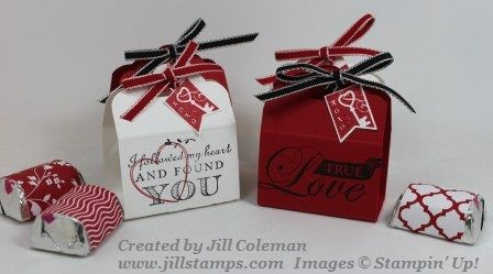 Quick and Cute DIY Valentine treats using Stampin' Up!s Scalloped Tag Topper Punch to wrap Hershey's Nuggets. Includes dimensions.  #stampinup  www.jillstamps.com