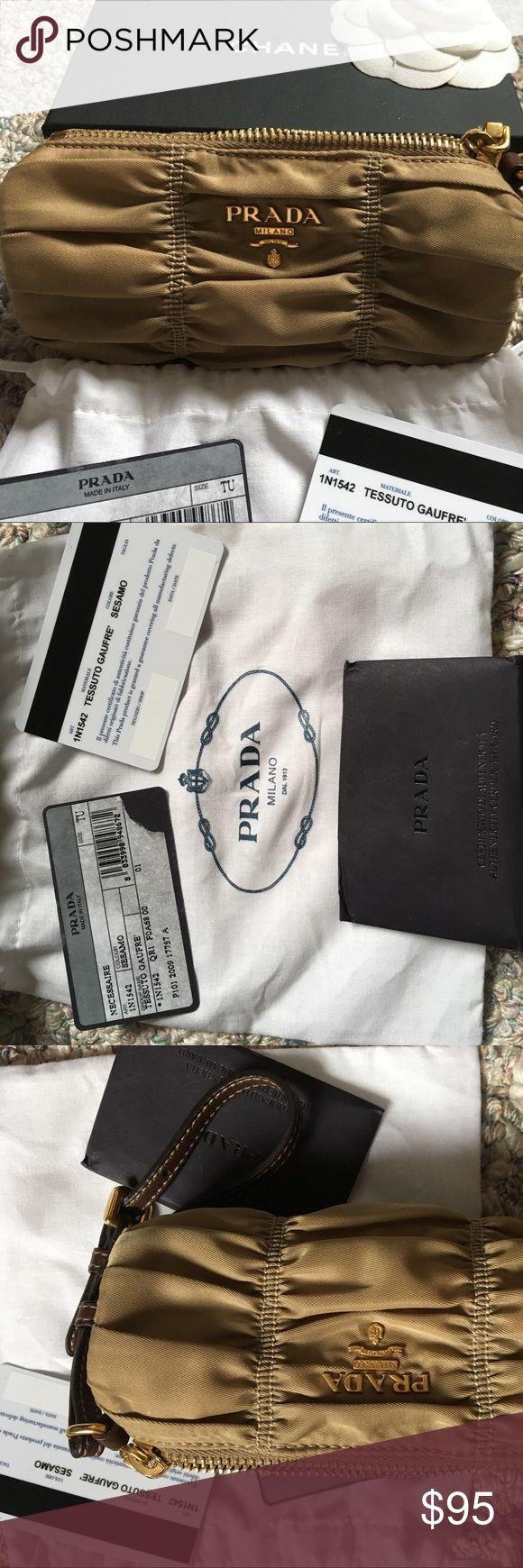 "PRADA Tessuto Gaufre Wrislet Tessuto Nylon Dark Beige Sesamo  In like new condition  Includes Prada Authenticity Cards and Dust Cover  6""x3"" x3"" Prada Bags Clutches & Wristlets"