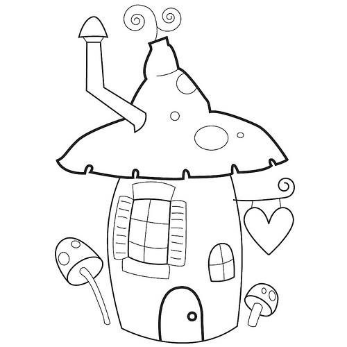 500 500 pixels for Fairy house coloring pages