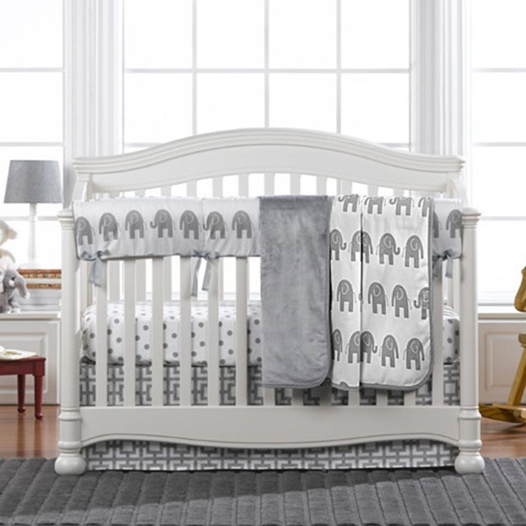 Modern Gray Elephant Crib Bedding Set with fitted sheet, crib skirt, baby blanket, and crib rail cover.