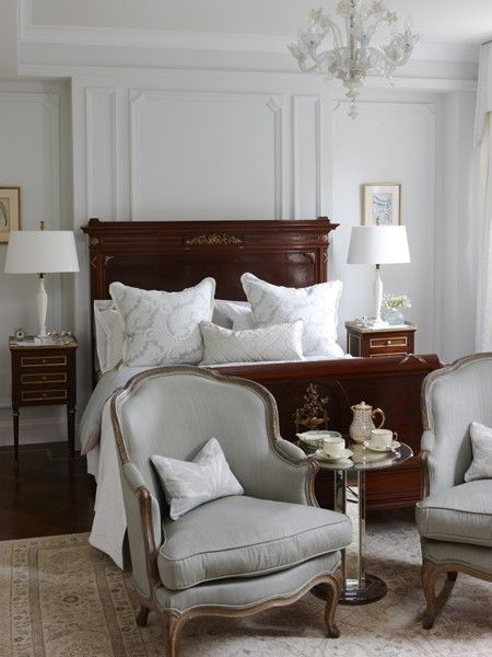 Create a cosy spot for tea and coffee in a principal bedroom using a pair of armchairs and an accent table. Find more romantic decorating ideas in our gallery brought to you by Air Wick. http://houseandhome.com/design/photo-gallery-romantic-rooms | design Sarah Richardson Design | photo Stacey Brandford | House & Home
