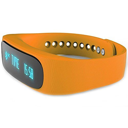Lanzhd Bluetooth Smart Waterproof Watch Bracelet IP67 for iPhone IOS and Android Cellphones with Pedometer Sleep Monitor Exercise Mode Phone Camera Functions Orange ** Want additional info? Click on the image.