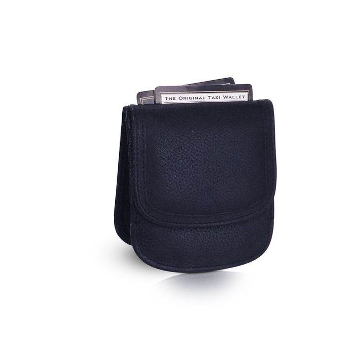 Leather Taxi Wallet - Compact Coin Wallet for Men and Women - Black