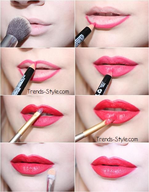 A perfect red lip tutorial using nyx cosmetics plush red lip liner, and morphe lip palette 10LN red shade applied with a lip liner brush and cleaned up with concealer.