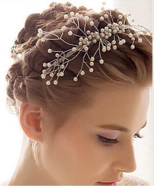 Bridal Triaras Faux Pearl Bridal Copricapo Cristallo Pearl Diademi Wedding Corone Nuziali Sposa Capelli Accessori Capelli