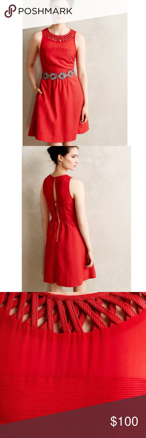 "[Anthropologie] Maeve Lattice Red Dress Dress does not come with belt. Belt is sold separately.   Armpit to armpit 17.75""   Style No. 4130580814405 ; Color Code:   Every closet needs evening backup - simple silhouettes that can be reinvented with a switch of accessories - like this flared, textured dress from Maeve.   By Maeve  Back zip  Cotton, viscose, polyester  Machine wash  Regular falls 36"" from shoulder Anthropologie Dresses Mini"
