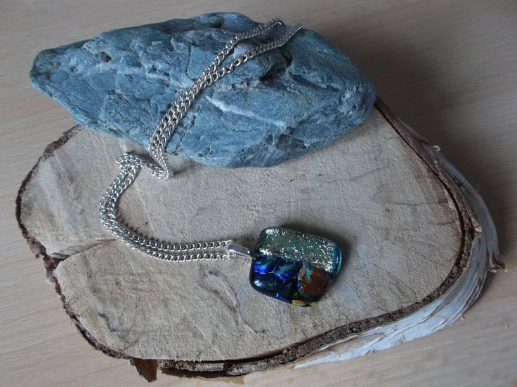 Unique glittering mosaic pendant of dichroic fused glass. by deblizaccessories on Etsy