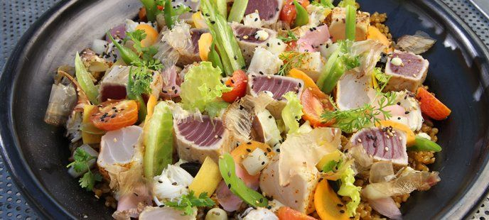 Brown Rice and Fresh fish salad by Chef Michel Louws from Huka Lodge. #MasterChefNZ