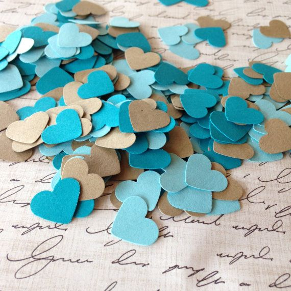 Mini Heart Paper Confetti Kraft Brown Teal and Blue Decoration Party Decoration Baby Shower Boy Decoration 300 pieces