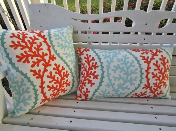 Clearance Sale Outdoor Pillow Cover Decorative Patio Porch Accent Throw Pillow Cover Cushion Set Teal Coral Salmon Outdoor Pillow Covers Outdoor Pillows Accent Throw Pillows