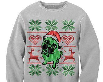 Sudadera de la Navidad del barro amasado. Concurso de feo suéter. Suéter de Pug. Alegría de la Navidad. Camisa de lana unisex. Suéter de la feliz Navidad.