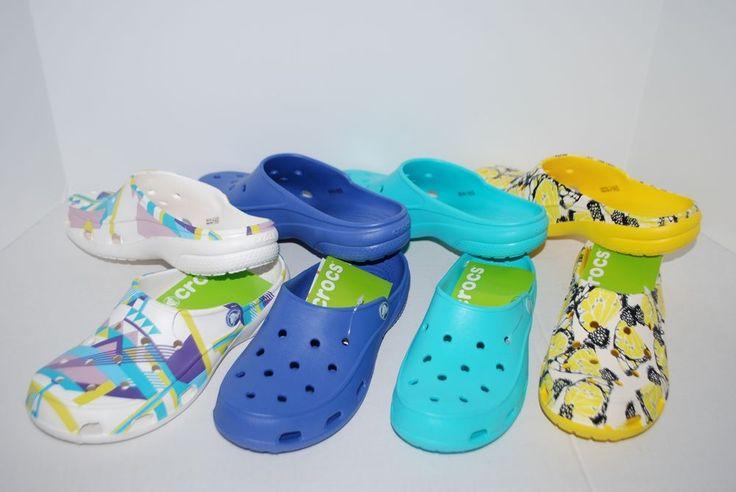 NWT CROCS FREESAIL CLOGS POOL LAPIS BLUE WHITE GEO BUTTERFLY 6 7 8 9 10 11 shoes #Crocs #clogs