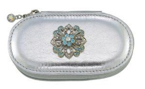 Blue Lace Flower Silver Small Make up Brush Case Set of 5 Brushes by Spring Street. $29.50. The Flower Charm is decorated with crystals.. The case contains 5 brushes and measures about 4 ¼ inches.. Blue Lace Flower Silver Small Make up Brush Case Set of 5 Brushes. Make up Brush case with a Flower charm.. A great compact way to take your beauty tools with you for everyday or for travel.. Make up Brush case with a Flower charm.  The case contains 5 brushes and measures ab...