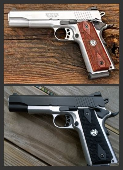 Ruger 1911 pistol before and after cerakote and new grips.