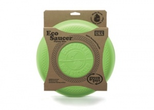 $14.95 Green Toys Eco Saucer Frisbee A fab eco option for a classic children's toy. This great frisbee from the Green Toys range is made from 100% recycled milk bottles. No Phthalates or BPA in their classic toys made from recycled materials.We were suprised at how durable this frisbee is and love this as much as the other offerings from the crew at GT.    Green Toys use packaging made from recycled corrugated boxes with no plastics, cellophane or twist-ties, and are 100% recyclable.