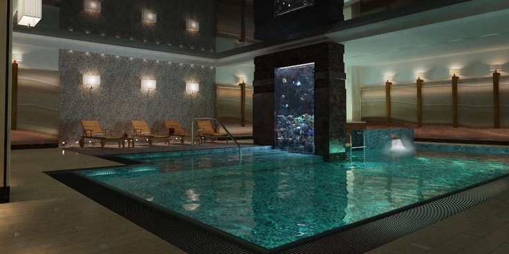 Underground wimming pool & aquarium with floristic window at Foksal Residence
